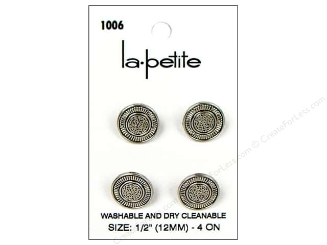 LaPetite Shank Buttons 1/2 in. Antique Silver #1006 4pc.
