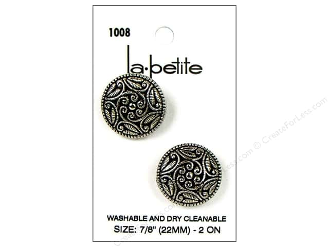 LaPetite Shank Buttons 7/8 in. Antique Silver #1008 2pc.