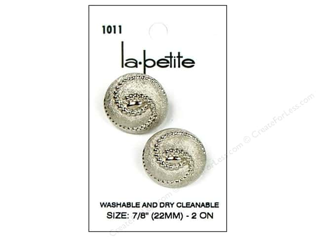 LaPetite Shank Buttons 7/8 in. Silver #1011 2pc.