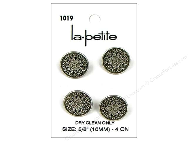 LaPetite Shank Buttons 5/8 in. Antique Silver #1019 4pc.