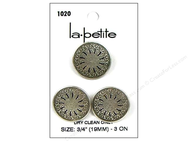 LaPetite Shank Buttons 3/4 in. Antique Silver #1020 3pc.