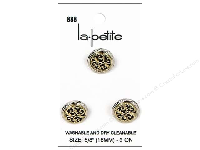 LaPetite Shank Buttons 5/8 in. Silver/Antique Gold #888 3pc.