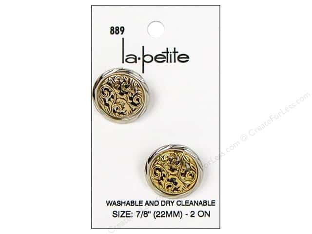 LaPetite Shank Buttons 7/8 in. Silver/Antique Gold #889 2pc.