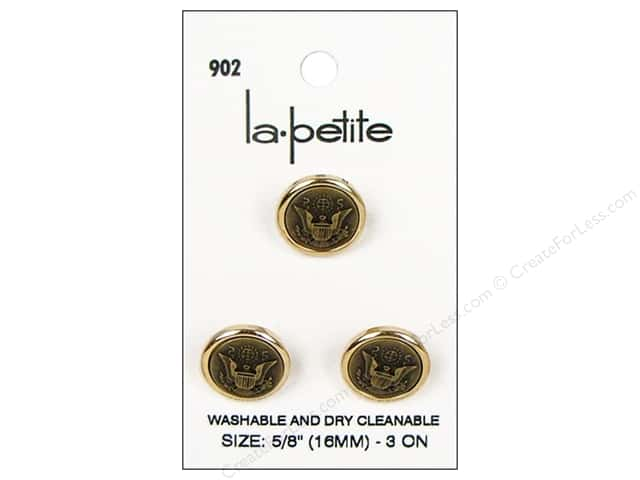 LaPetite Shank Buttons 5/8 in. Gold/Brass #902 3pc.