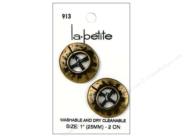 LaPetite 4 Hole Buttons 1 in. Antique Gold #913 2pc.