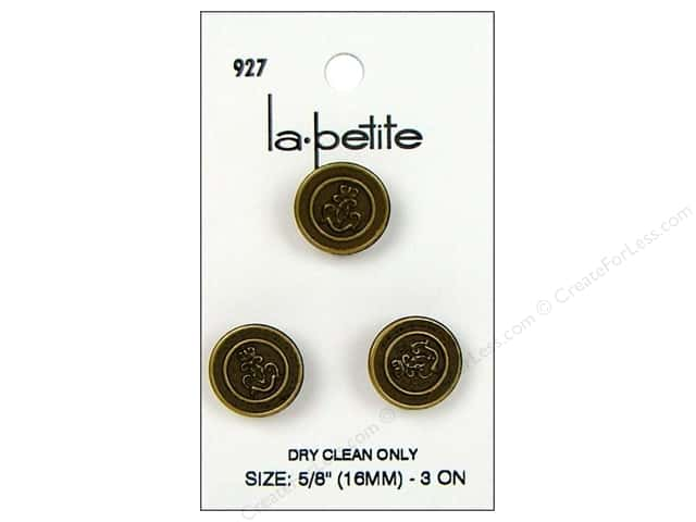 LaPetite Shank Buttons 5/8 in. Antique Gold #927 3pc.