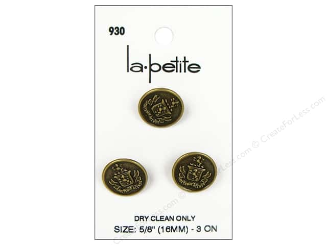LaPetite Shank Buttons 5/8 in. Gold Crest #930 3 pc.