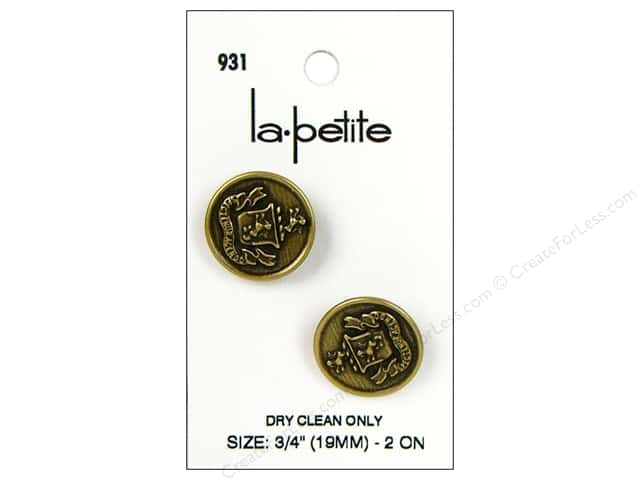 LaPetite Shank Buttons 3/4 in. with Crest Gold #931 2pc.