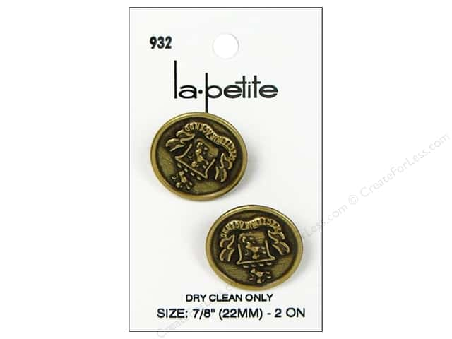 LaPetite Shank Buttons 7/8 in. Antique Gold with Crest #932 2pc.