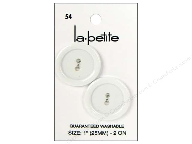 LaPetite 2 Hole Buttons 1 in. White #54 2pc.