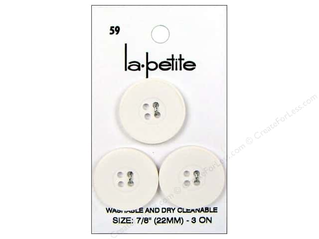 LaPetite 4 Hole Buttons 7/8 in. White #59 3pc.