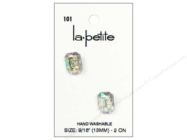LaPetite 2 Hole Buttons 9/16 in. Crystal #101 2pc.