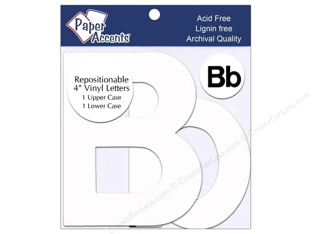 "Paper Accents Adhesive Vinyl 4 in. Letters ""Bb"" 2 pc. Removable White"