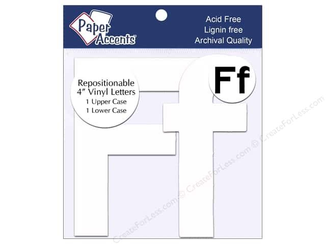 "Paper Accents Adhesive Vinyl 4 in. Letters ""Ff"" 2 pc. Removable White"