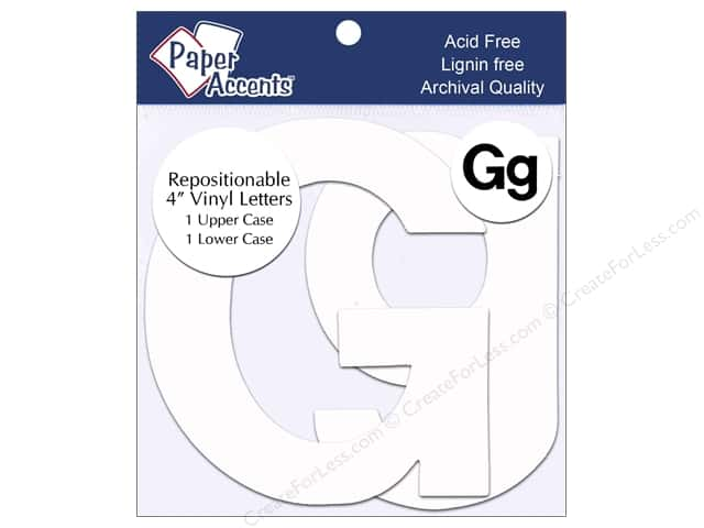 "Paper Accents Adhesive Vinyl 4 in. Letters ""Gg"" 2 pc. Removable White"
