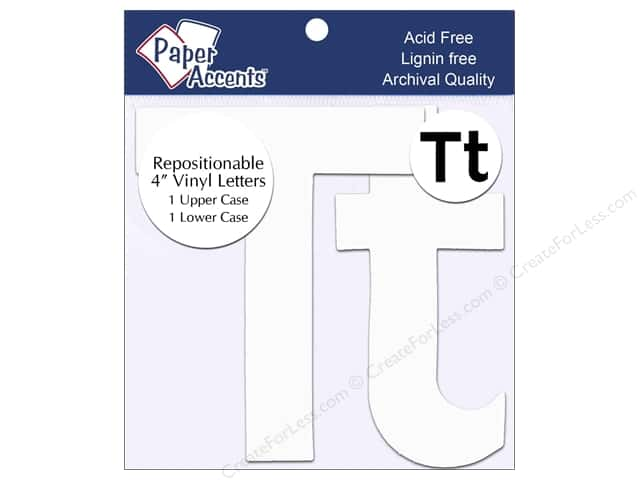 "Paper Accents Adhesive Vinyl 4 in. Letters ""Tt"" 2 pc. Removable White"