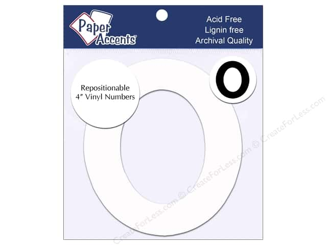 """Paper Accents Adhesive Vinyl 4 in. Numbers """"0"""" 2 pc. Removable White"""