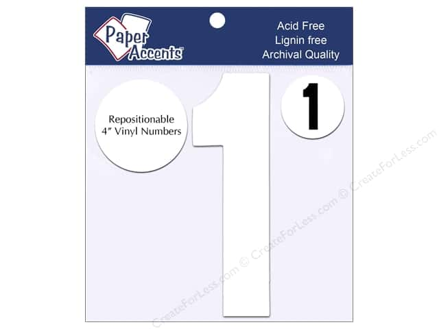 "Paper Accents Adhesive Vinyl 4 in. Numbers ""1"" 2 pc. Removable White"