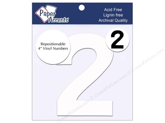 """Paper Accents Adhesive Vinyl 4 in. Numbers """"2"""" 2 pc. Removable White"""
