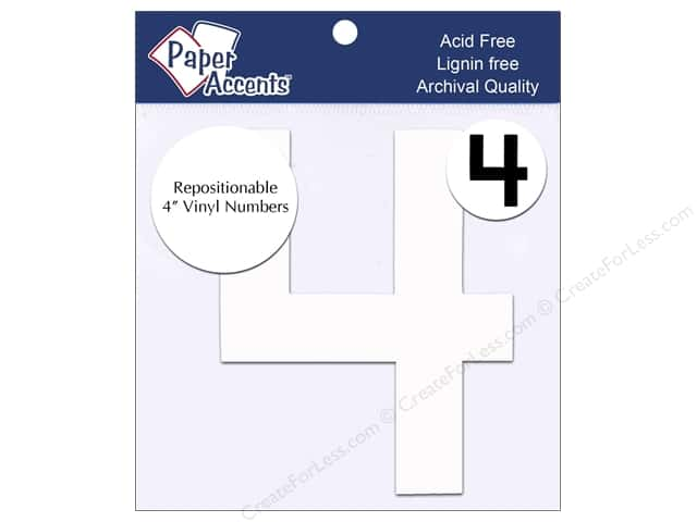 "Paper Accents Adhesive Vinyl 4 in. Numbers ""4"" 2 pc. Removable White"