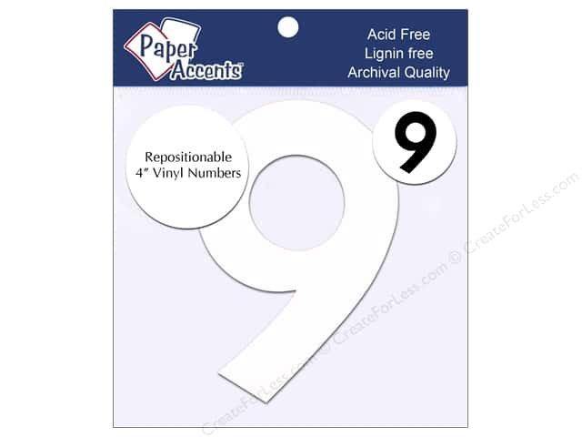 "Paper Accents Adhesive Vinyl 4 in. Numbers ""9"" 2 pc. Removable White"