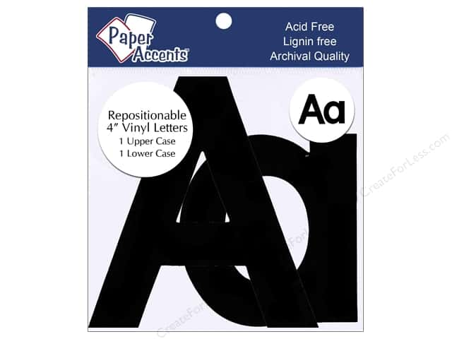 "Paper Accents Adhesive Vinyl 4 in. Letters ""Aa"" 2 pc. Removable Black"