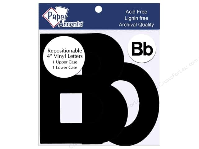 "Paper Accents Adhesive Vinyl 4 in. Letters ""Bb"" 2 pc. Removable Black"
