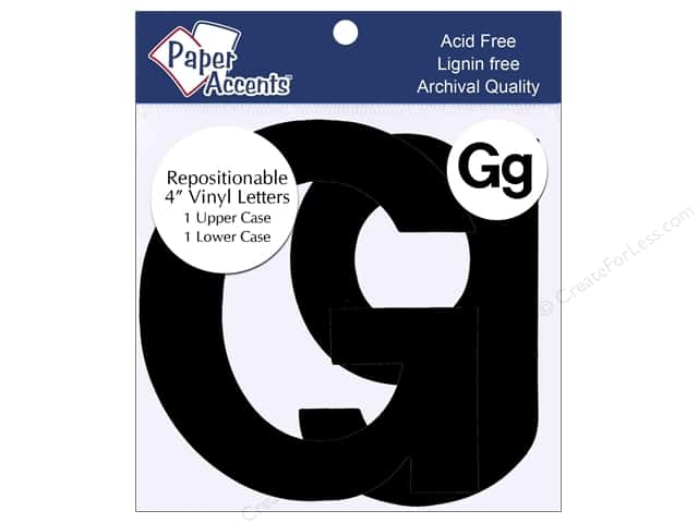 "Paper Accents Adhesive Vinyl 4 in. Letters ""Gg"" 2 pc. Removable Black"