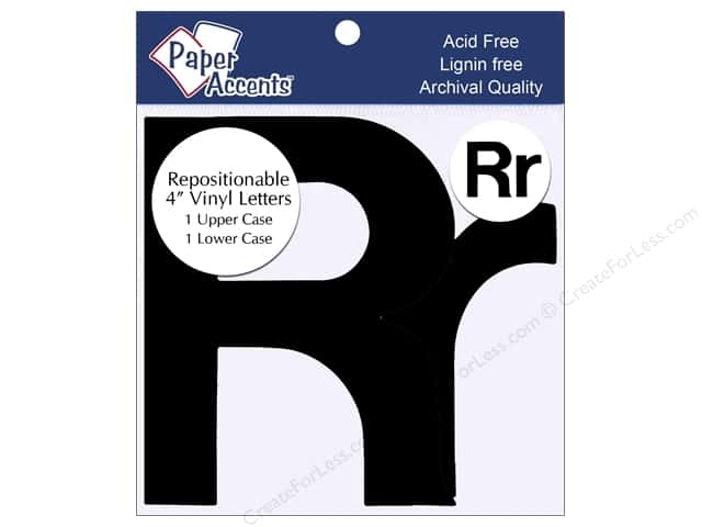 "Paper Accents Adhesive Vinyl 4 in. Letters ""Rr"" 2 pc. Removable Black"