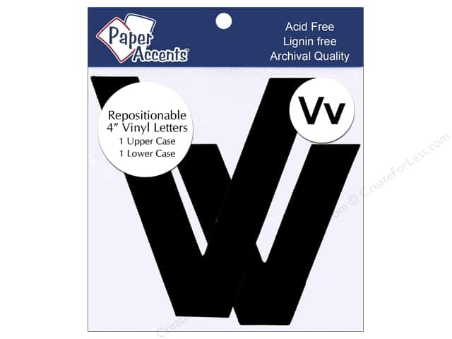 "Paper Accents Adhesive Vinyl 4 in. Letters ""Vv"" 2 pc. Removable Black"