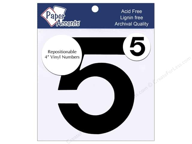 "Paper Accents Adhesive Vinyl 4 in. Numbers ""5"" 2 pc. Removable Black"
