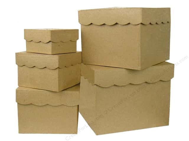 Paper Mache Square Box Scallop Top Set of 5 by Craft Pedlars (4 sets)