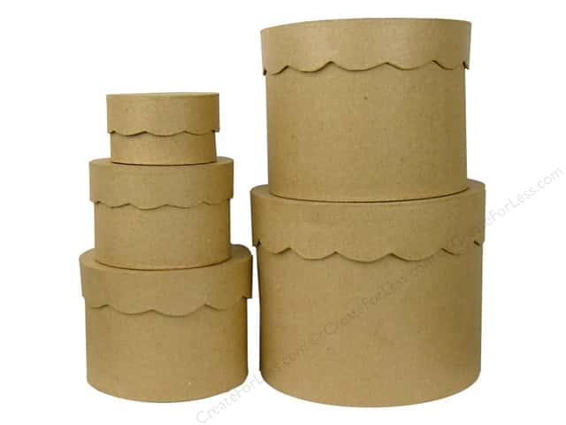 PA Paper Mache Round Box Scallop Top Set of 5 (4 sets)