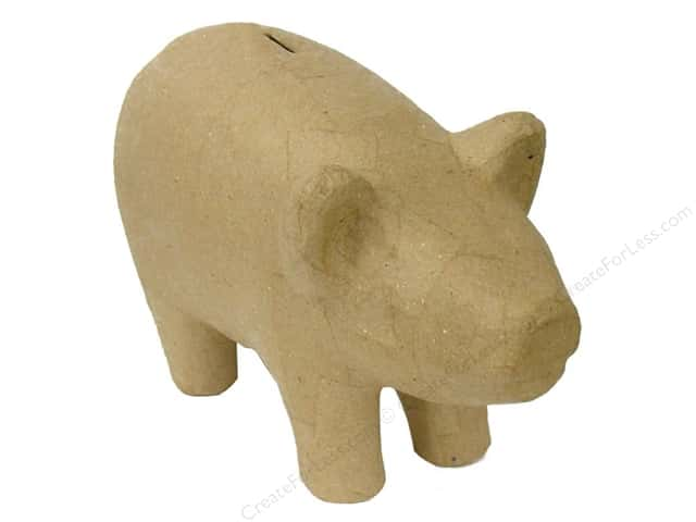 Paper Mache Pig Bank by Craft Pedlars (6 pieces)
