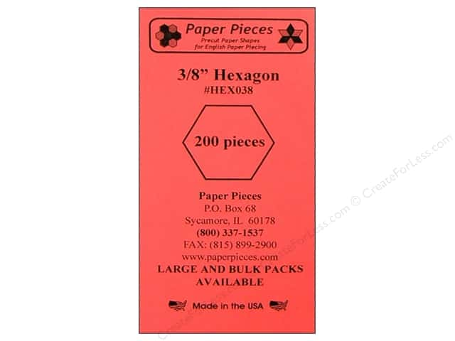 Paper Pieces Precut Paper Shapes Hexagon 3/8 in. 200 pc.