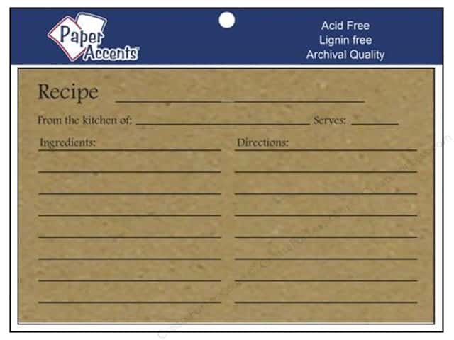 Paper Accents Recipe Card 4 x 6 in. Brown Bag 25 pc.