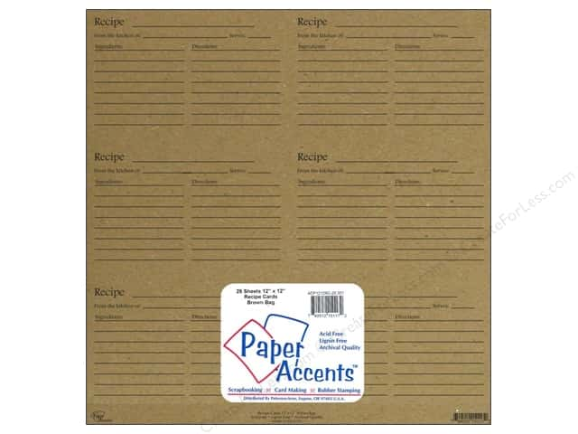 Paper Accents Recipe Card Sheet 12 x 12 in. Brown Bag (25 sheets)