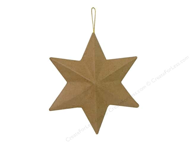 Paper Mache 6 Point Star Ornament by Craft Pedlars 5 in.