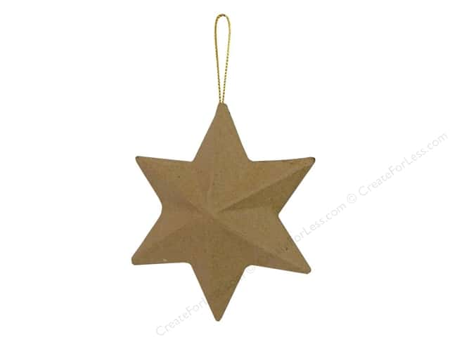 Paper Mache 6 Point Star Ornament by Craft Pedlars 4 in.