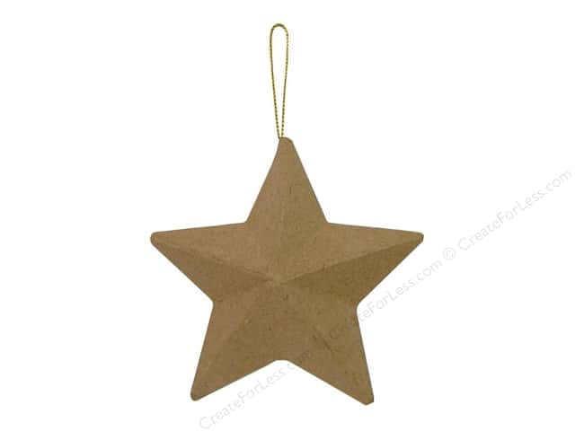 Paper Mache 5 Point Star Ornament by Craft Pedlars 4 in.