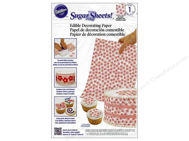 "Wilton Edible Decorations Sugar Sheets Paper 8""x 11"" Swirls Red"