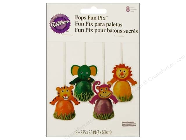 Wilton Decorations Pops Fun Pix Jungle Pals 8pc