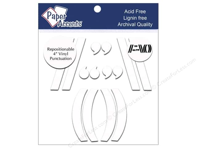 Paper Accents Adhesive Vinyl 4 in. Punctuation 14 pc. Removable White