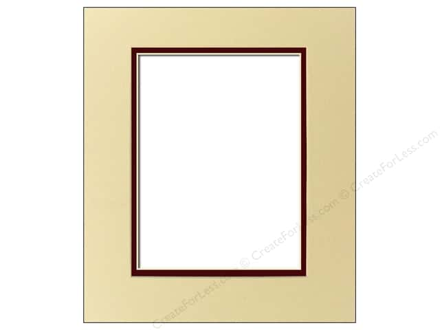 Pre-cut Double Photo Mat Board by Accent Design Cream Core 8 x 10 in. for 5 x 7 in. Photo Ivory Pebble/Maroon