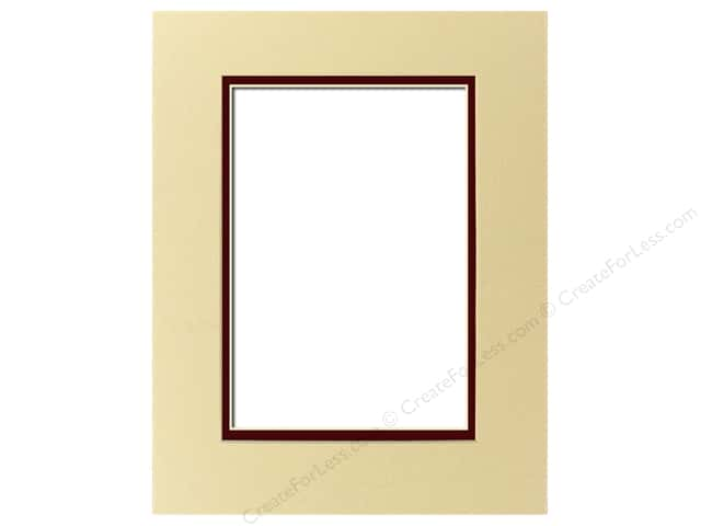 Pre-cut Double Photo Mat Board by Accent Design Cream Core 11 x 14 in. for 8 x 10 in. Photo Pebble/Maroon