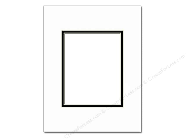 Pre-cut Double Photo Mat Board by Accent Design Cream Core 16 x 20 in. for 11 x 14 in. Photo White/Black