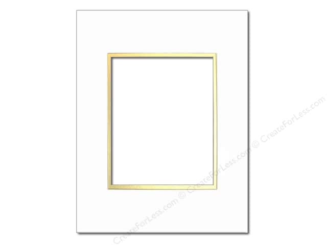 Pre-cut Double Photo Mat Board by Accent Design Cream Core 16 x 20 in. for 11 x 14 in. Photo White/Gold