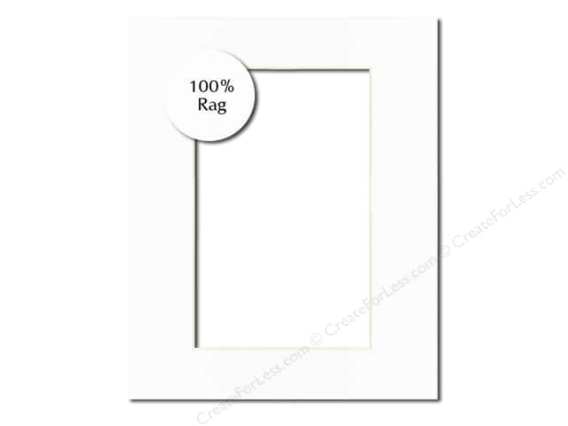 PA Framing Pre-cut Rag Photo Mat Board White Core 5 x 7 in. for 3 1/2 x 5 in. Photo White