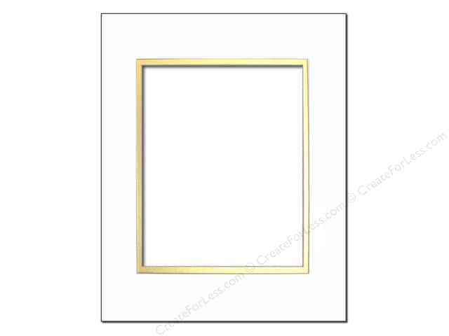 Pre-cut Photo Mat Board by Accent Design Cream Core 5 x 7 in. for 3 1/2 x 5 in. Photo White/Gold