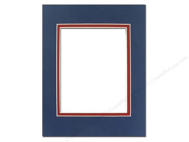 Pre-cut Double Photo Mat Board by Accent Design Cream Core 5 x 7 in. for 3 1/2 x 5 in. Photo Bottle Blue/Deep Red